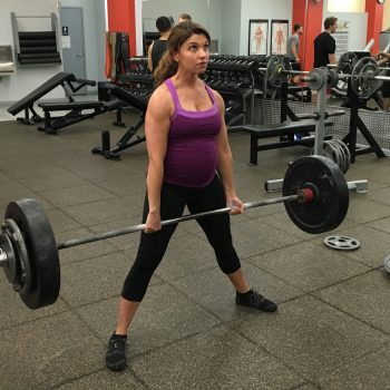 Kristina Martemucci, a personal trainer in Binghamton, NY, deadlifting while pregnant.